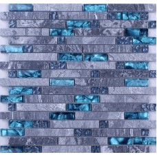 Blue glass stone mosaic wall tiles gray marble tile kitchen backsplash ideas bathroom tile flooring SGT008