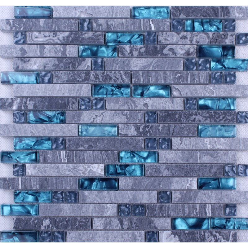 Blue Gl Stone Mosaic Wall Tiles Gray Marble Tile Kitchen Backsplash Ideas Bathroom Flooring Sgt008