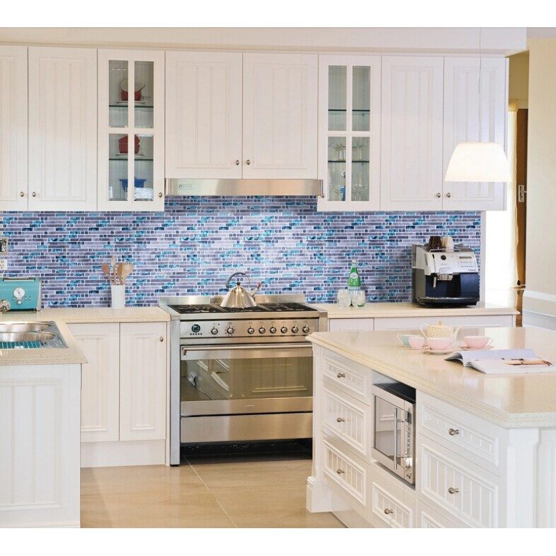 white kitchen with blue backsplash blue glass mosaic wall tiles gray marble tile 1832