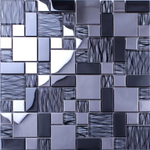 Crystal Mosaic Tiles Random Metal Coating Mosaics Tiles Mesh Mounted Tile Sheet Kitchen Wall Backsplash Washroom Bathroom N137