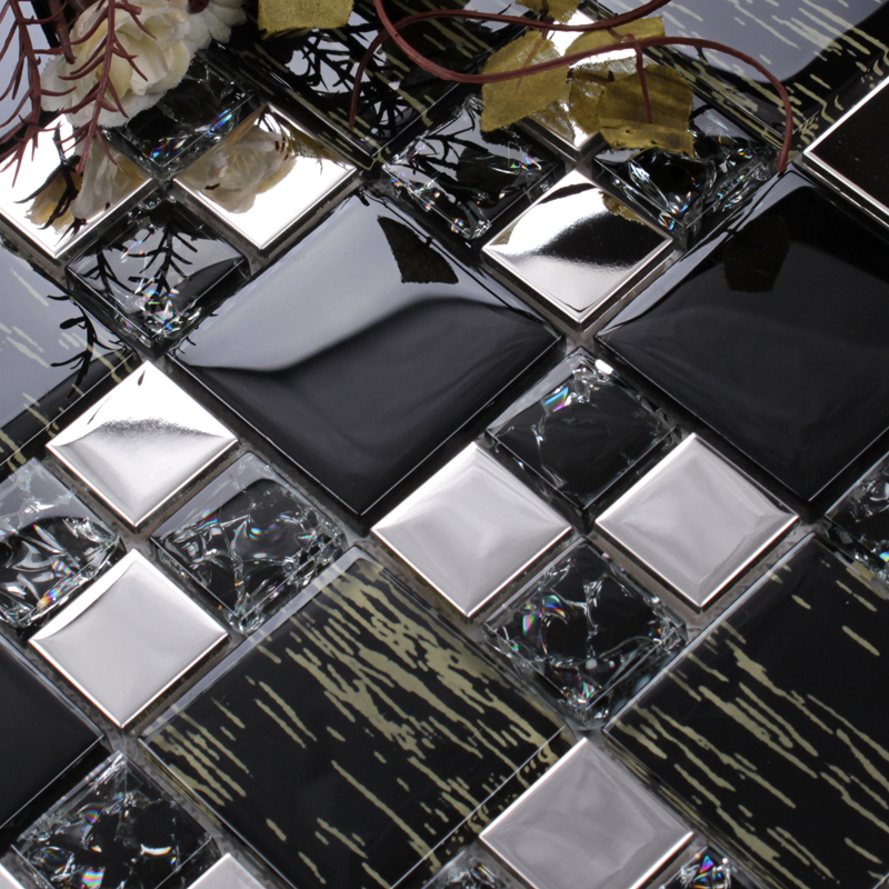 Silver Stainless Steel Black Crystal Glass Tile Backsplash Ideas Bathroom Crackle Mosaic Patterns Metal Kitchen Wall