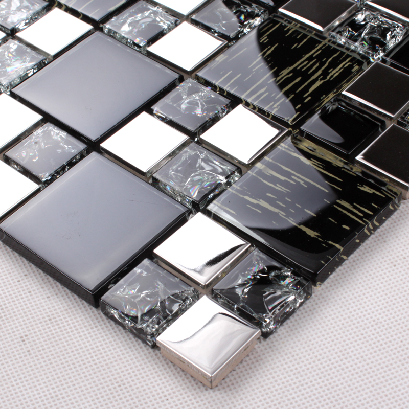Silver Stainless Steel Black Crystal Glass Tile Backsplash