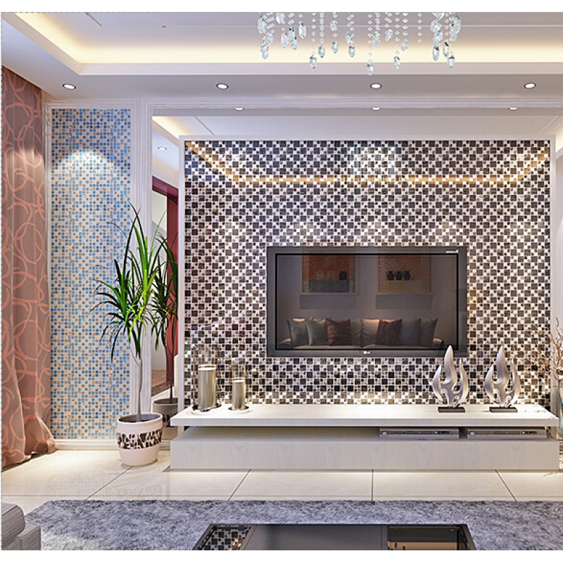 Silver Stainless Steel Black Crystal Glass Tile Backsplash Ideas ...