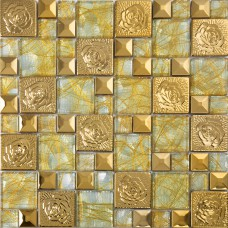 Gold 304 stainless steel flower patterns mosaic glass wall art metal backsplash wall stickers hall backsplashes deco KLGTN8