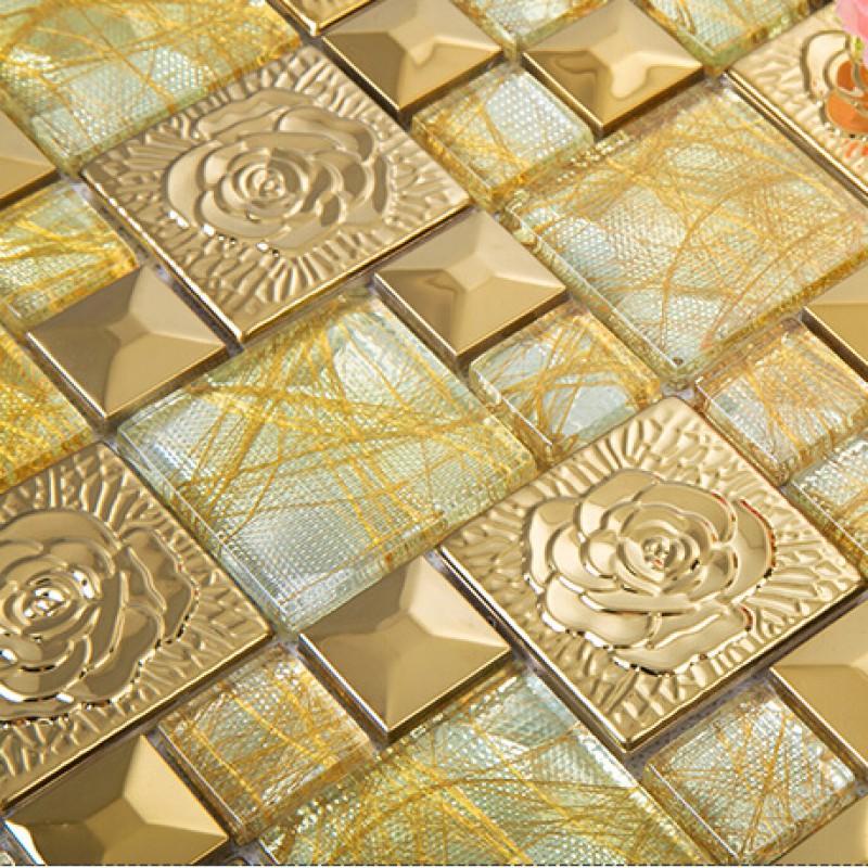 Yellow Mosaic Tile Backsplash: Gold 304 Stainless Steel Flower Patterns Mosaic Glass Wall