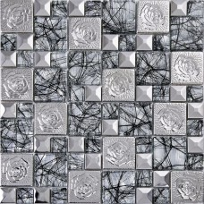 Silver 304 stainless steel flower patterns mosaic metal glass backsplash kitchen wall stickers hall backsplashes deco KLGTN9
