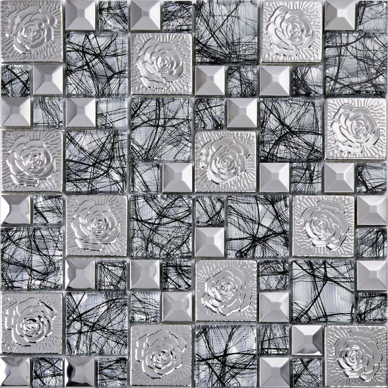 Sample Stainless Steel Metal Pattern Mosaic Tile Kitchen: Silver 304 Stainless Steel Flower Patterns Mosaic Metal