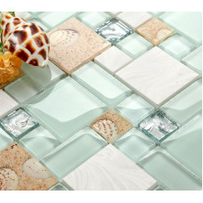 Glass and Stone Mosaic Tile, Beach Style Green Lake & White, Sandy Resin Inner Pearl Shell & Conch