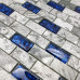 Stone and Glass Wall Mosaic 1x2 Subway Tile, Royal Blue & Gray, Backsplash for Bath Shower and Accent