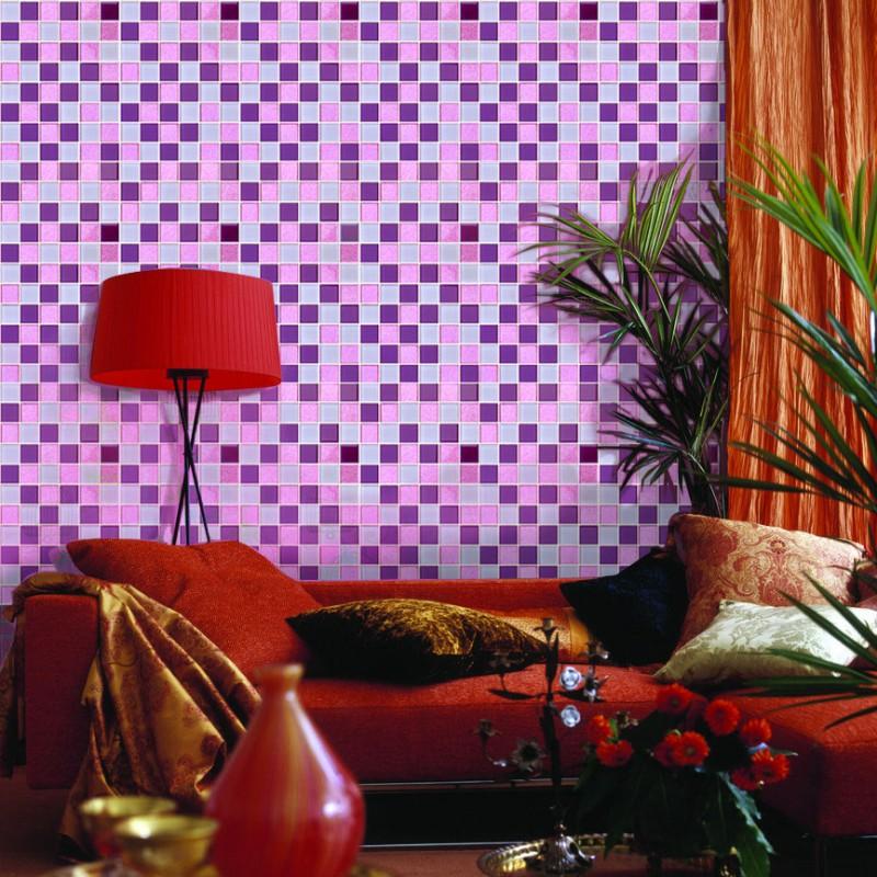 Kitchen Tiles Purple crystal glass mosaic sheets purple wall stickers kitchen