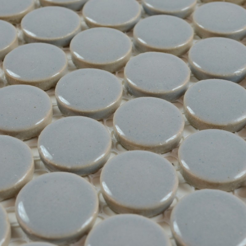 Round Mosaic Tile Patterns: Porcelain Tile Backsplash Penny Round Mosaic Glazed