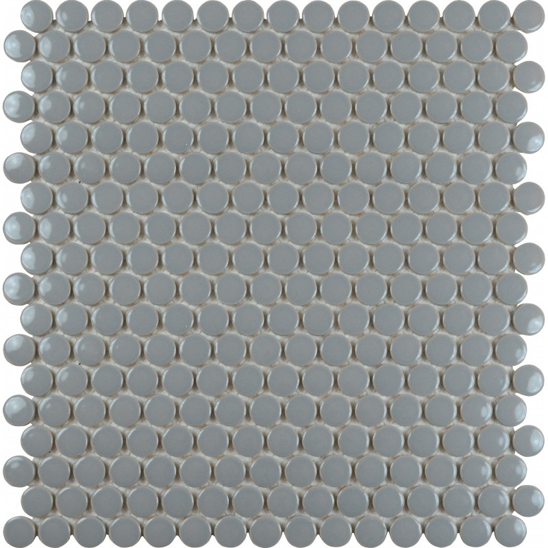 Porcelain tile backsplash penny round mosaic glazed for Mosaic salle de bain