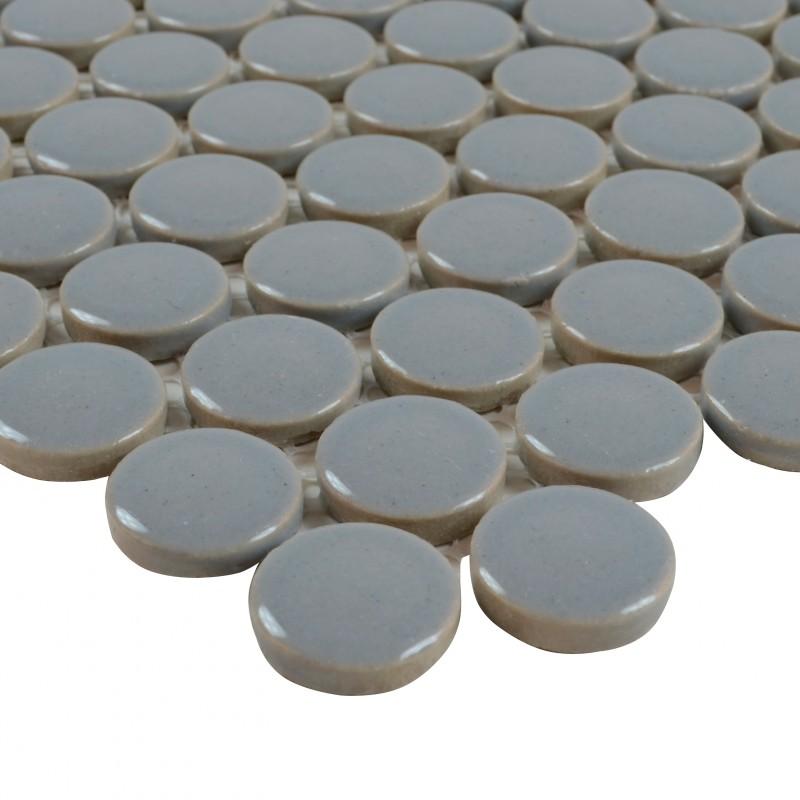 Porcelain tile backsplash penny round mosaic glazed
