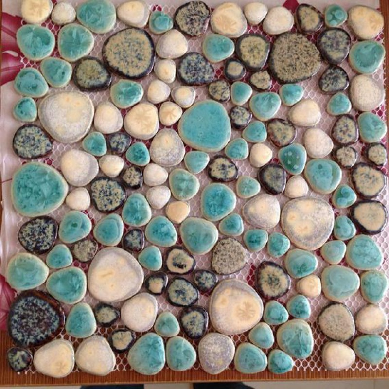 Glazed porcelain tiles cheap pebble tile blue and brown shower