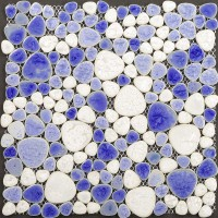 Glazed porcelain mosaic sheets cheap pebble tile backsplash for kitchen and bathroom blue and cream heart-shaped ceramic wall tiles PPT007