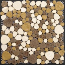 Porcelain pebble tile with cream and coffee color and heart shaped patterns glazed ceramic mosaic sheet kitchen wall backsplash PPT008