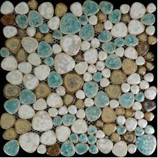 Glazed porcelain pebble tile kitchen backsplash heart-shaped mosaic pebbles shower wall tiles design bathroom tile flooring PPT009