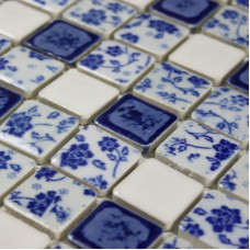Blue and white porcelain tile mosaic tiles ceramic bathroom wall decor kitchen backsplash free-shipping kitchen porcelain tiles ceramic mosaics wall tiles PDFT018