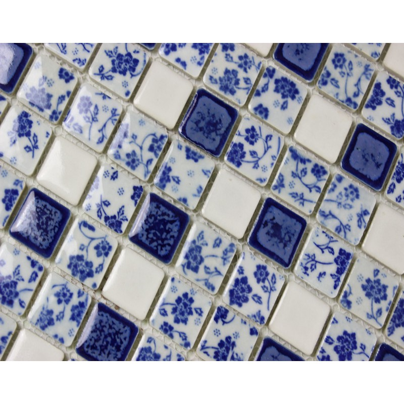 Kitchen Backsplash Blue and white porcelain tile mosaic tiles ceramic bathroom wall decor