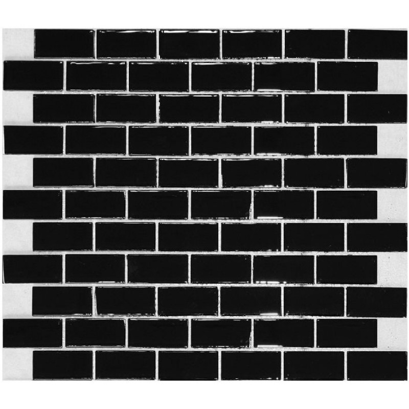 Black Subway Tile glass subway tile backsplash kitchen liner wall brick interlocking