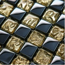 Crystal Glass Mosaic Tile Sheets Gold and Blue Bathroom Wall Tiles Kitchen Backsplash Stickers Swimming Pool Border Tile S001