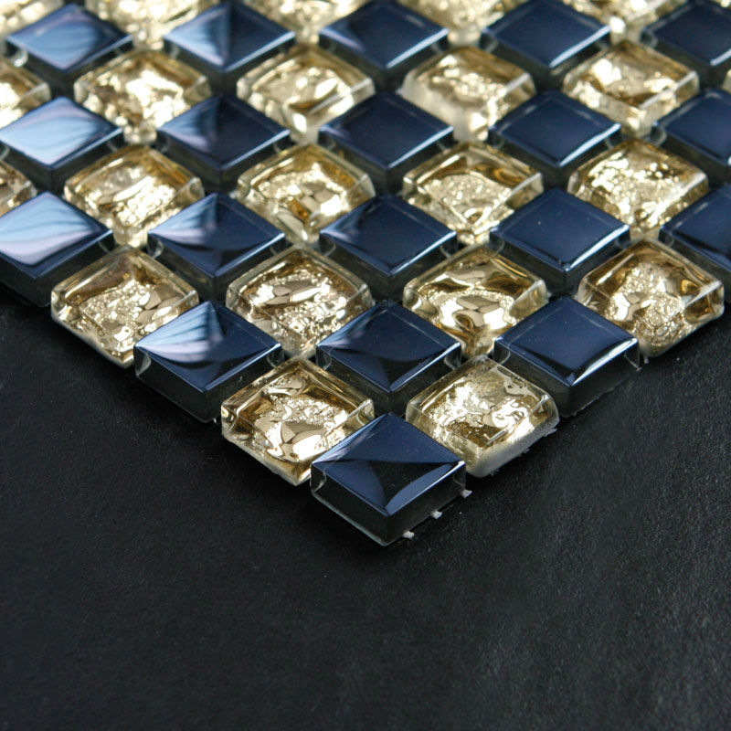 Crystal Glass Mosaic Tile Sheets Gold And Blue Bathroom