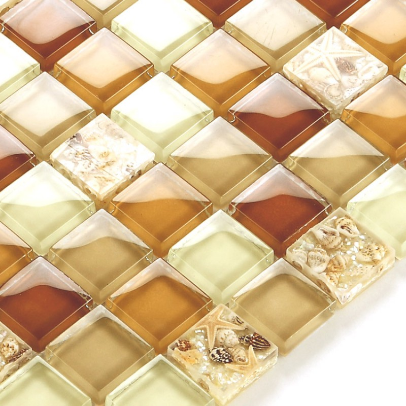 Glass Conch Tile Sheets Kitchen Backsplash Cheap Brown Crystal Glass Mosaic Bathroom Tile Flooring