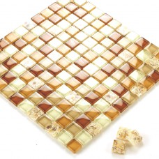 Glass conch tile sheets kitchen backsplash cheap brown crystal glass mosaic GCS101 bathroom tile flooring shower wall tiles design