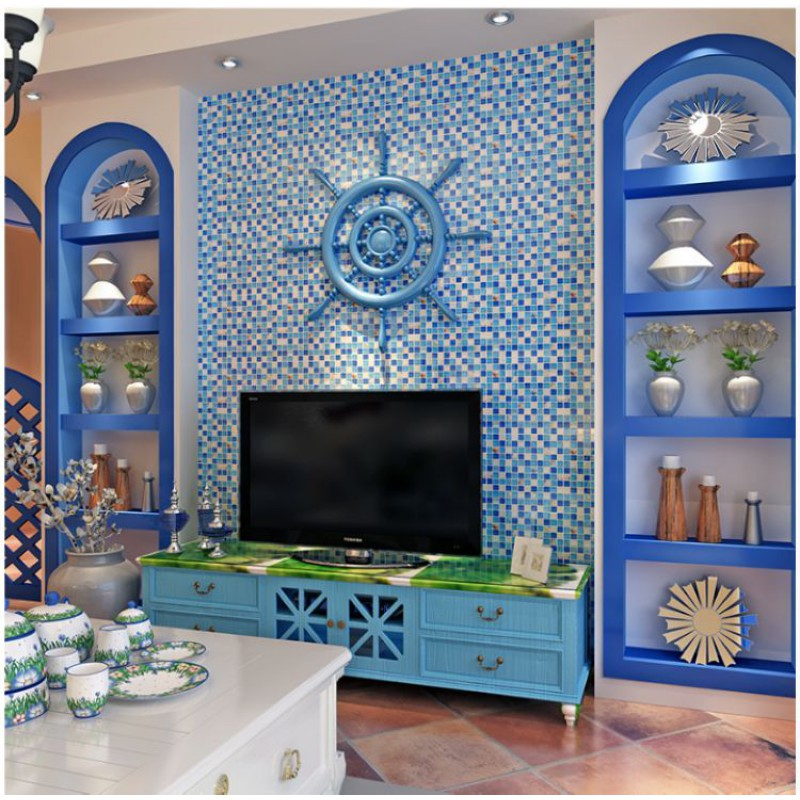 Blue Glass Tile Backsplash Shell Melted Into Resin Mosaic Designs S102 Crackle Crystal Mosaic Tile Bathroom Wall