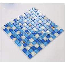 Blue glass tile backsplash shell melted into resin mosaic designs S102 crackle Crystal mosaic tile Bathroom wall tiles sticker