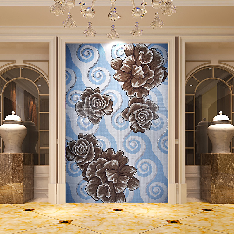 Crystal Glass Mosaic Tile Puzzle Tile Wall Backsplashes Bathroom Living Room Dinning Room Wall