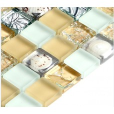 Crystal Mosaic for Swimming Pool Tile Ice Crack Glass Mixed Shell Metal coating pattern Kitchen Tiles Floor Bathroom Wall S169