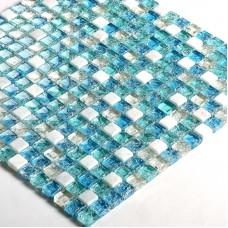 """Blue crystal mosaic tile sheets 3/5"""" Stone & glass blend mosaic designs S321 crackle Glass tile backsplash marble bathroom tiles"""