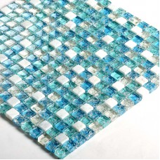 "Blue crystal mosaic tile sheets 3/5"" Stone & glass blend mosaic designs S321 crackle Glass tile backsplash marble bathroom tiles"
