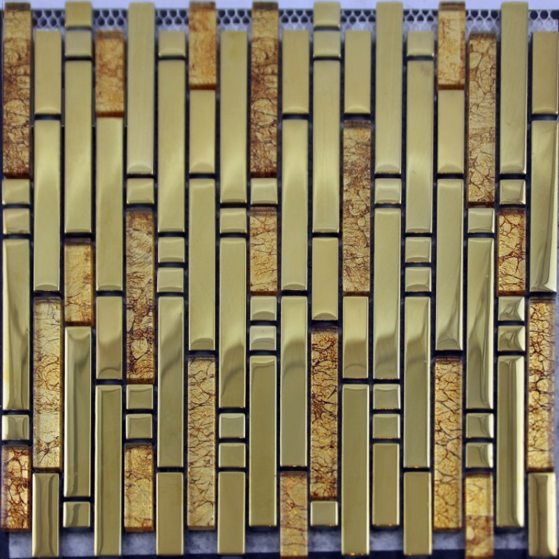 Metal Wall Tiles crystal glass mosaic tile plated metal coating strip tiles kitchen