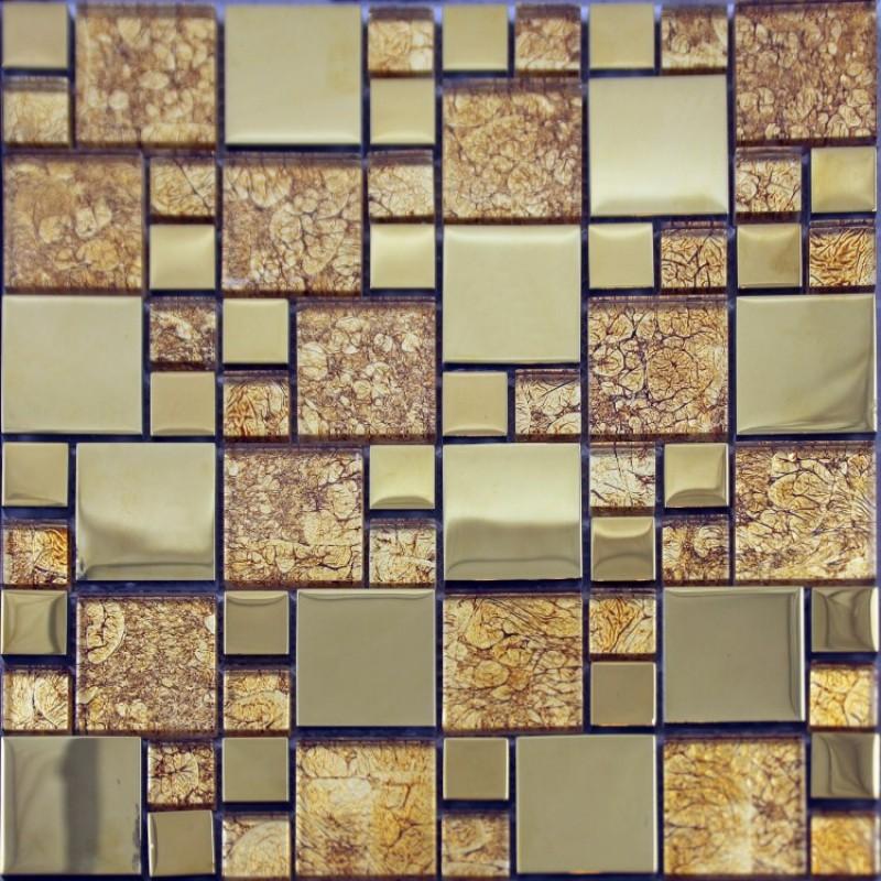 crystal glass tile backsplash metal coating glass mosaic art kitchen
