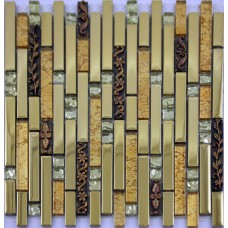 Stainless steel tiles kitchen backsplash interlocking crystal glass metal mosaics SAQ01 resin mosaic patterns bath wall stickers