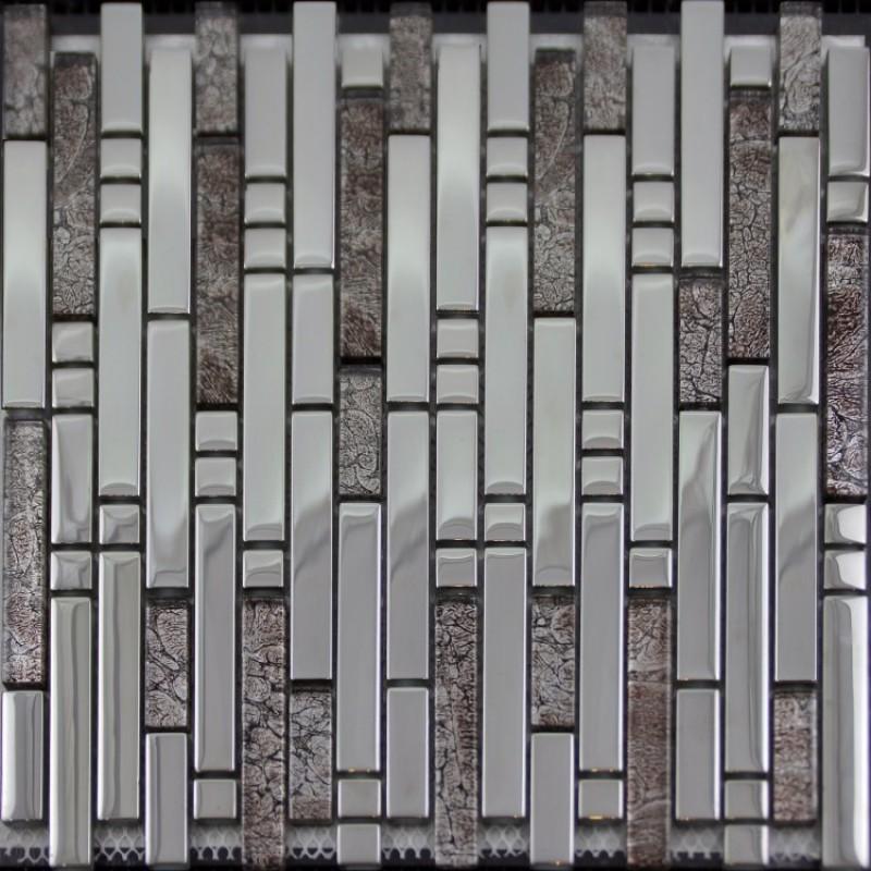 Glass mosaic tile backsplash interlocking stainless steel crystal glass blend sb02 silver - Silver tin backsplash tiles ...