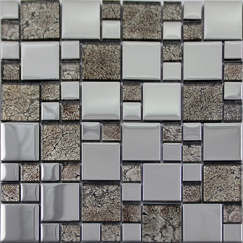 crystal glass mosaic tile plated metal coating tiles kitchen