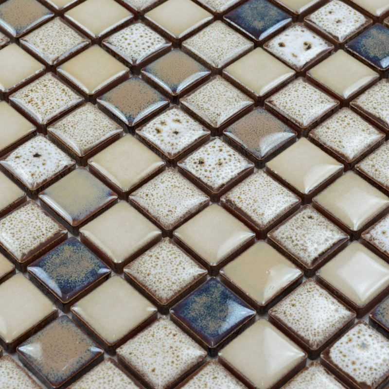 Mesh Backing Porcelain Mosaic Tiles Stone Era Glazed Pebble Tile For Wall Sticker Glossy Surface 1 Inch