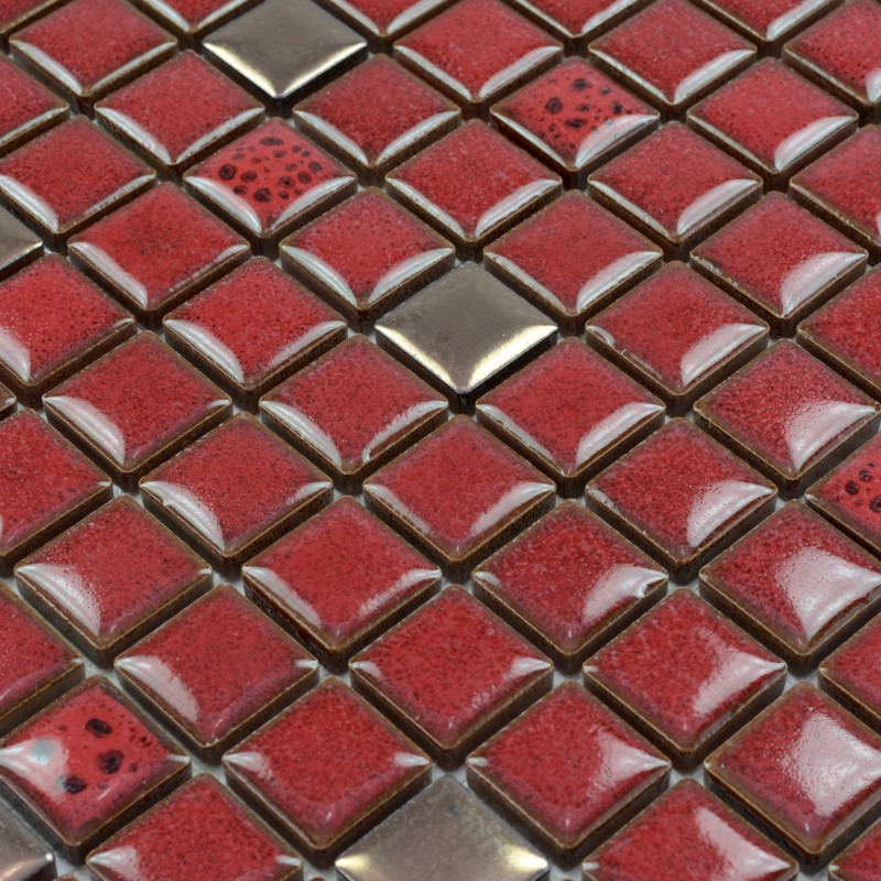 Red Tile Kitchen Backsplash Glazed Porcelain Mosaic Tile Sheets Square 1 X1 Gold Mosaic