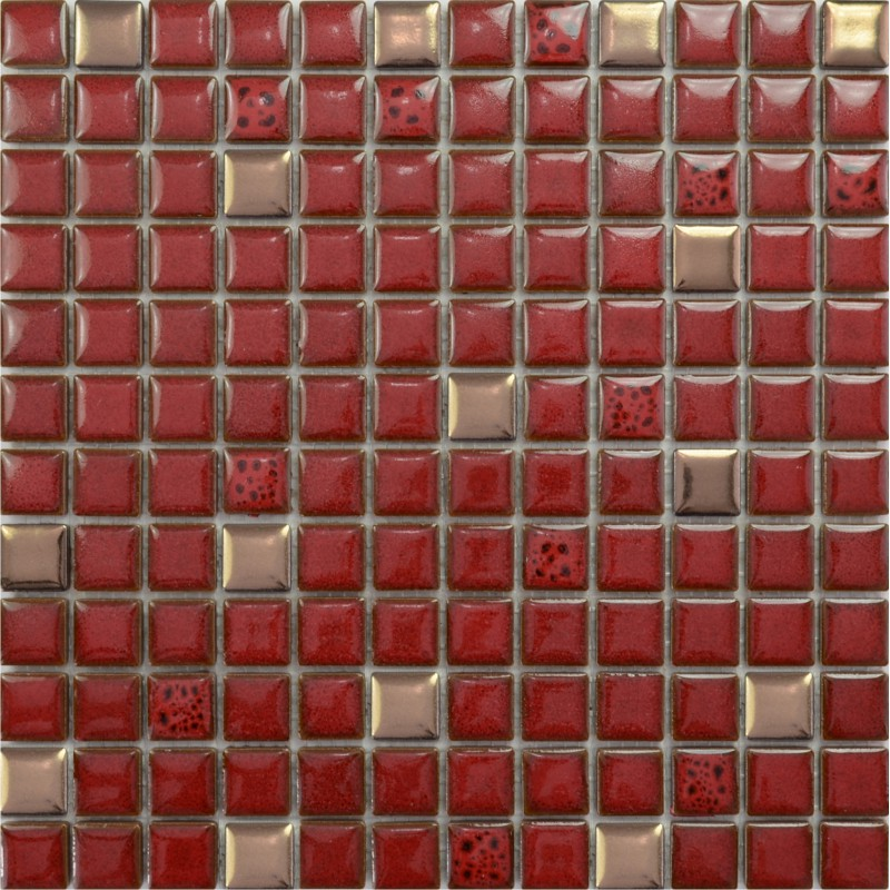 Red tile kitchen backsplash glazed porcelain mosaic tile ...
