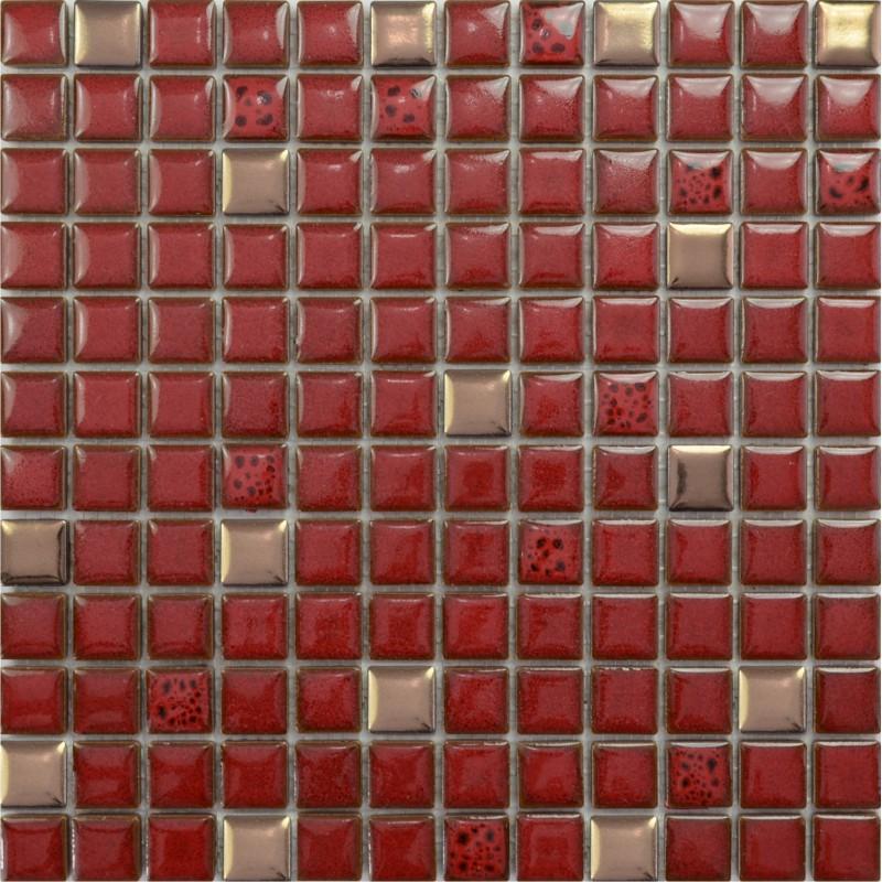 Red Tile Kitchen Backsplash Glazed Porcelain Mosaic Sheets Square 1 X1 Gold