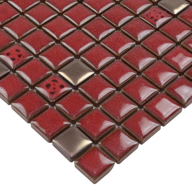 Red Tile Kitchen Backsplash Glazed Porcelain Mosaic Tile