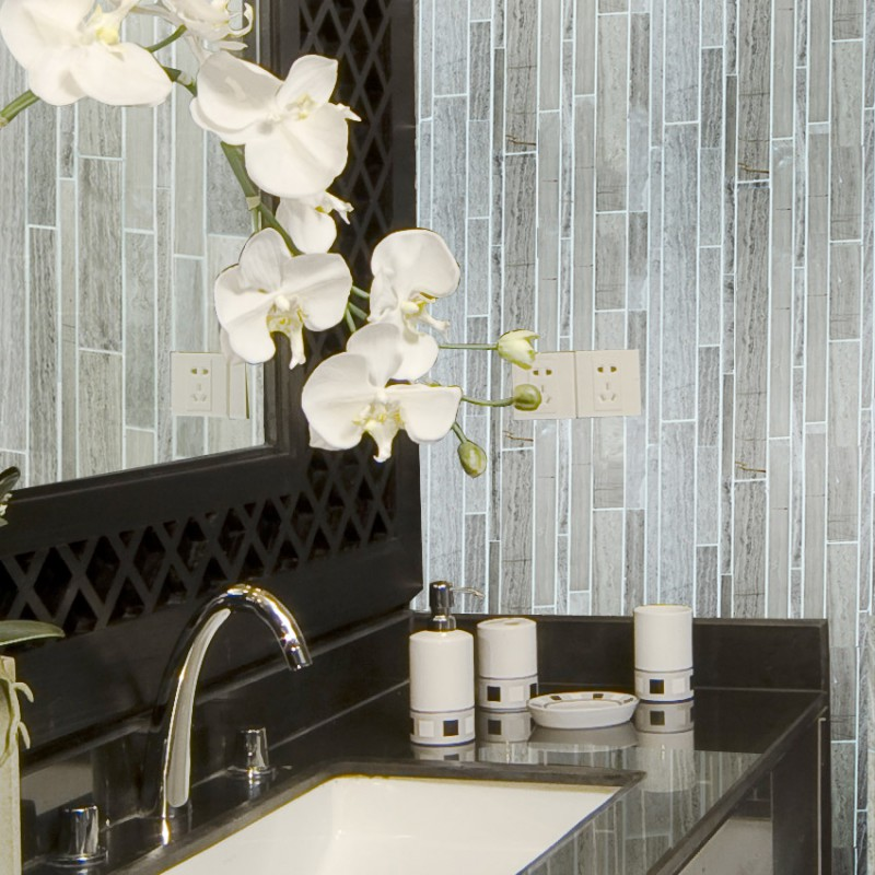 Stone Mosaic Tile Sheets Kitchen Backsplash Wall Sticker For Fireplace Border Marble Tiles