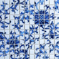 Crystal Glass Mosaic blue and white Tile Backsplash Kitchen pattern Bathroom Wall Tiles Mirror Tiles puzzle Mosaic Glass SM111