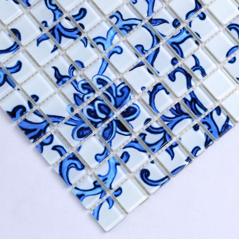 Glass Mosaic blue and white Tile Backsplash Kitchen pattern ...