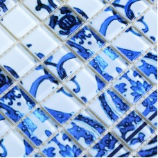 Wholesale Crystal Glass Mosaic TilesTiling Wall Art Tile Blue & White Bathroom Floor Tiles Kitchen Backsplash Pattern SM112
