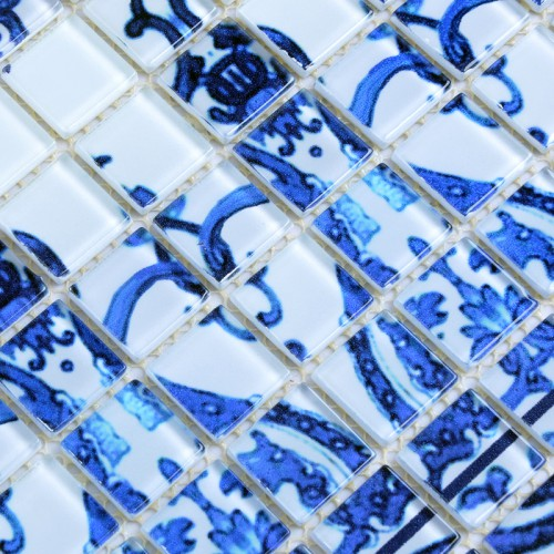 Wholesale Crystal Glass Mosaic TilesTiling Wall Art Tile Blue & White Bathroom Floor Tiles Kitchen Backsplash Pattern SM112