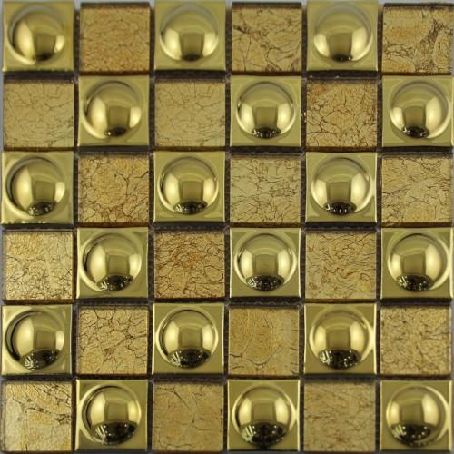 Gold Porcelain Tiles Bathroom Wall Backsplash Glazed: Ceramic Mosaic Sheet Gold Porcelain Tile Kitchen